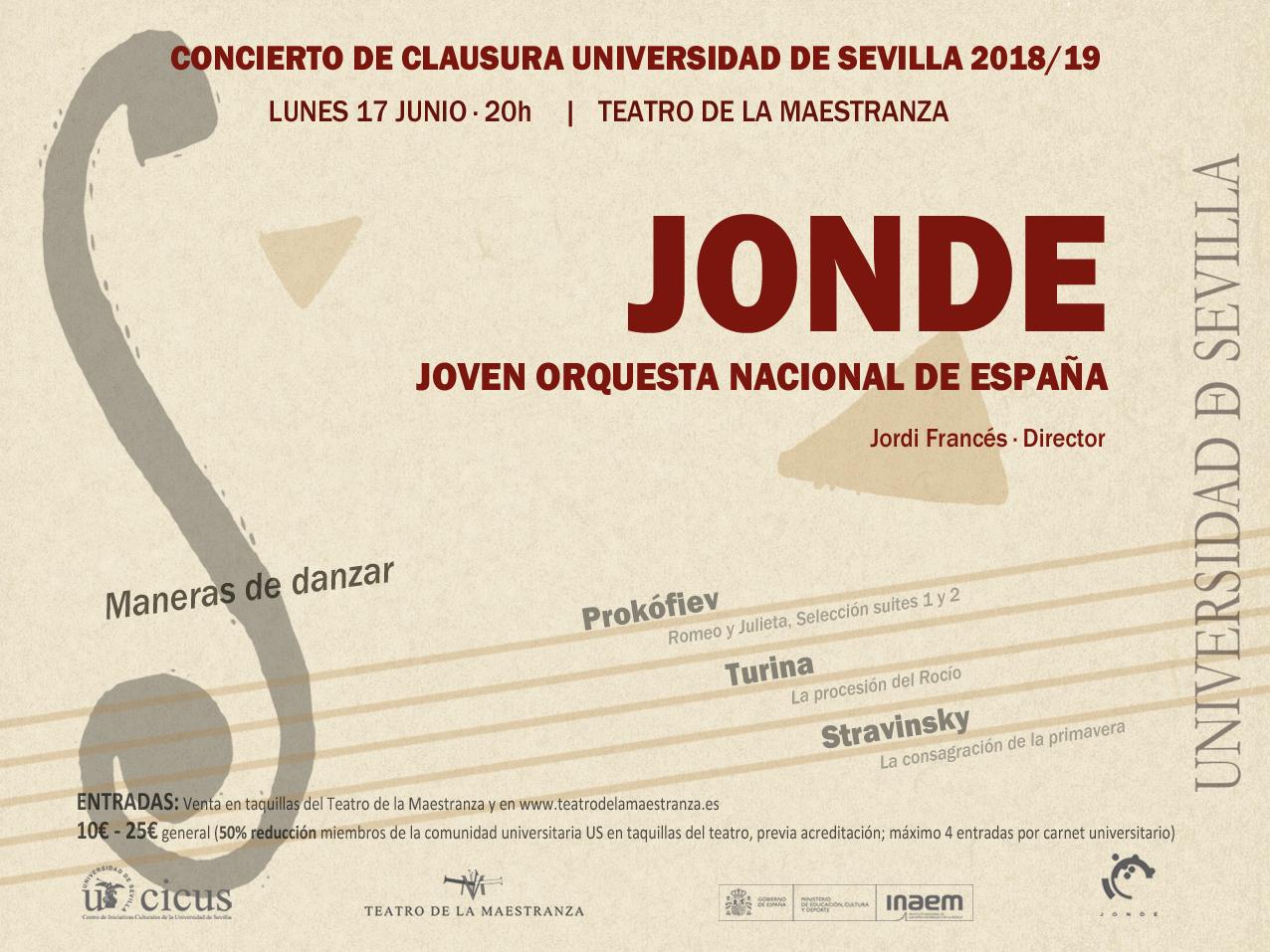 Universidad de Sevilla. Concierto Clausura del Curso 2018-2019 JONDE